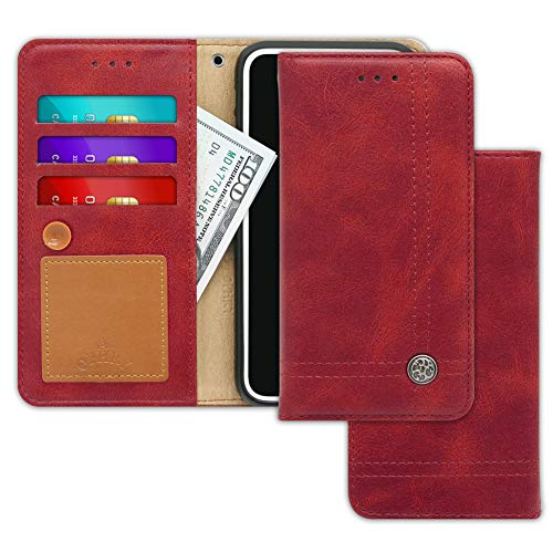 LG Google Nexus 5X Case [Free 9 Gifts] Trim LINE Flip Diary Cover with Slim Wallet Design [Octopus Ver.] – Card Holder, Cash Slots, Kickstand, Strap & Message Pad for Nexus 5 X - Burgundy Red