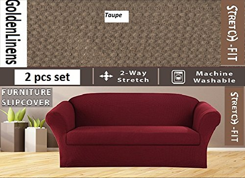 (2 pcs Stretch Slipcovers Set, Couch/ Sofa And Loveseat Cover (Taupe))