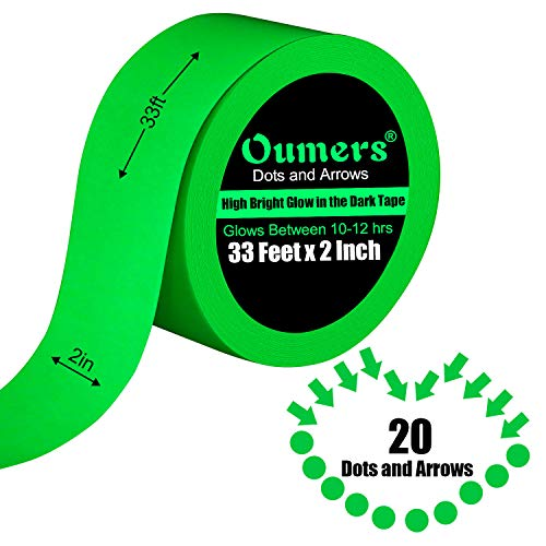 Glow in The Dark Tape, Oumers Luminous Tape - 33 ft x 2 inch - High Bright Luminous Sticker for Light Switches, Stage, Theater, Exits, Decals| Halloween Glow Stickers Halloween Costume Decorations -