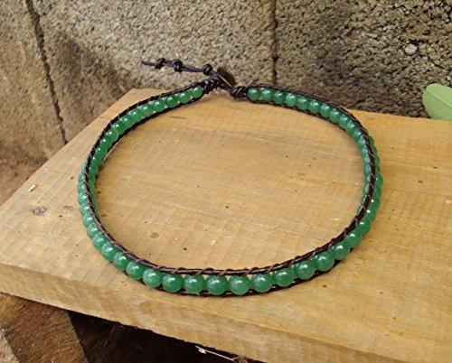 Jade anklets,stone anklets,green anklets,leather anklets,men anklets,women anklets,fashion anklets,wrap,4mm - Anklet Jade