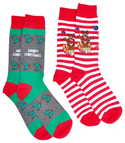 2 Pairs Mens Christmas Socks Fine Fit Holiday Novelty Boxed Set (Merry & Reindeer) (Mens Christmas Socks For)