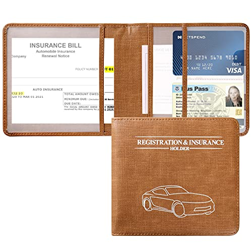VIQWYIC Auto Registration and Insurance Card Holder, Vehicle Car Truck Documents Organizer Wallet Case for Credit Cards, Driver's License, Essential Automobile Documents - Brown