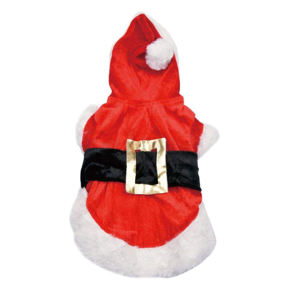 POPETPOP Katze Kostü m Weihnachtskostü m mit Mü tze Winter Warm Plü sch Nikolausanzug fü r Haustiere Hunde Katzen Grö ß e XS (Rot)