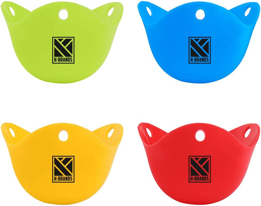 Green 4 Pack Egg Poaching Cups for Microwave and Stovetop Cooking-Food Grade BPA Free Silicone Red Blue Orange K-Home Poacher
