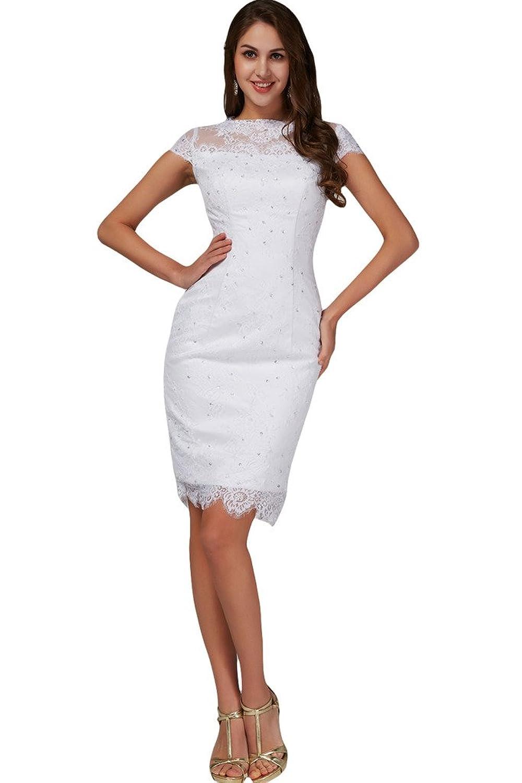 TOSKANA BRAUT Hochwertig Damen Abendkleider Kurz Spitze mit Pailletten Braut Cocktail Party Ball Hochzeitskleider