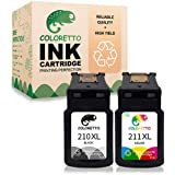 Coloretto Remanufactured Printer Ink Cartridge Replacement for Canon PG-210XL,CL-211XL,211XL for PIXMA MP230 MP240 MP250 MP26