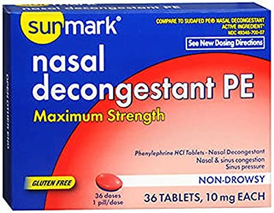 Sunmark Nasal Decongestant PE 10 mg Tablets - 36 ct