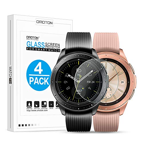 OMOTON TemperedGlassScreenProtectorCompatiblewith SamsungGalaxyWatch42mm/ GearS2/ Gear Sport [4Pack]