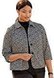 Jessica London Women's Plus Size Patterned Knit Crop Jacket Black Ivory,24