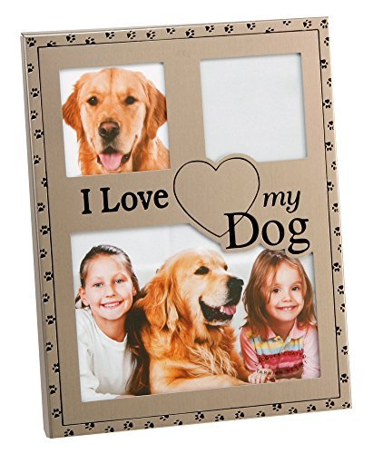 Haysom Interiors Brushed Silver I Love My Dog Collage Picture Frame by Happy Homewares (Love Dog My Frame I Picture)