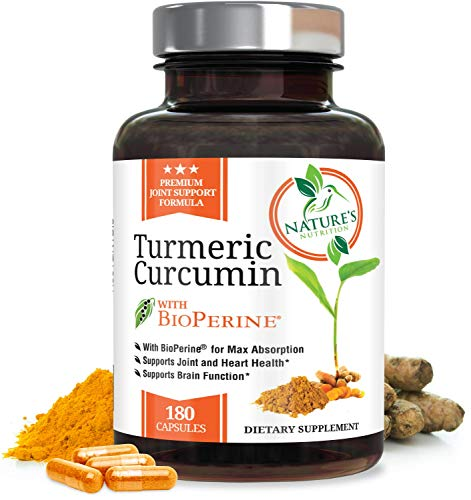 Turmeric Curcumin Max Potency 95% Curcuminoids with Bioperine Black Pepper for Best Absorption, Anti-Inflammatory Joint Relief, Turmeric Supplement Pills by Natures Nutrition – 180 Capsules