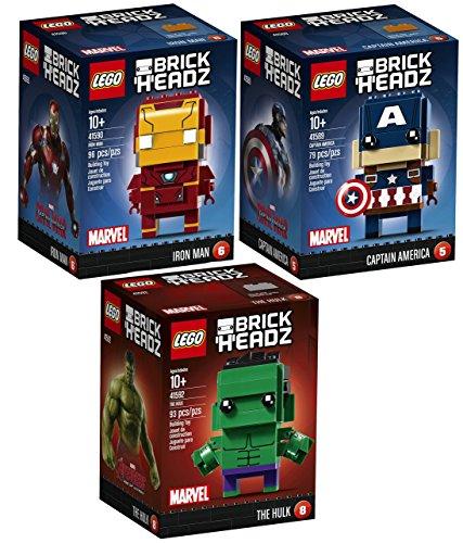 Captain America Replica Suit (Marvel Avengers 3 Pack Figure Set Captain America Civil War / The Hulk Age of Ultron & Iron Man Big Heads Super Hero Mini Model Characters)