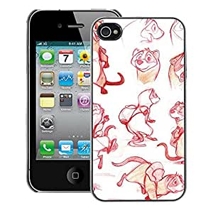 A-type Arte & diseño plástico duro Fundas Cover Cubre Hard Case Cover para iPhone 4 / 4S (Red Sketch Drawing Graphical Design)
