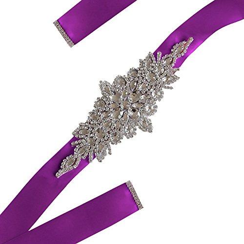 Freedi Bridal Sash Belts with Rhinestone for Wedding Bridesmaid Bride Dress Women Clothing Accessories ()