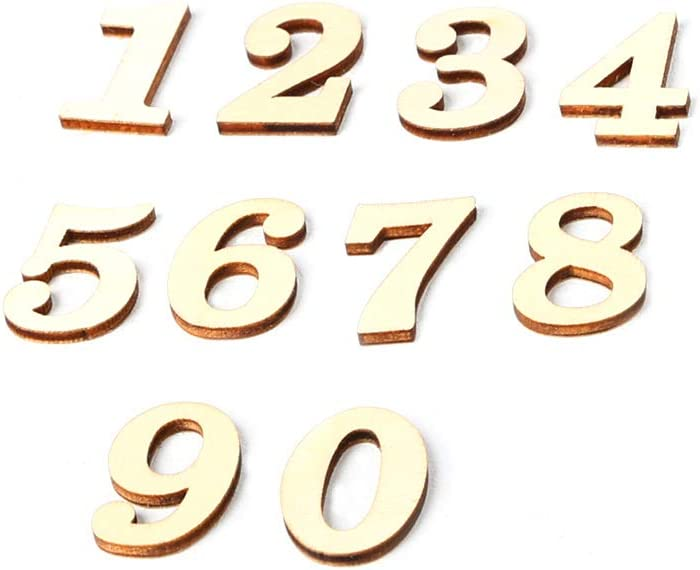 10 Per Pack) Weehey JM01483 Wooden ZAKKA Crafts Environmental Protection DIY Numbers Decoration Self-Adhesive Accessories Wooden Numbers for DIY Craft(Numbers 0 to 9