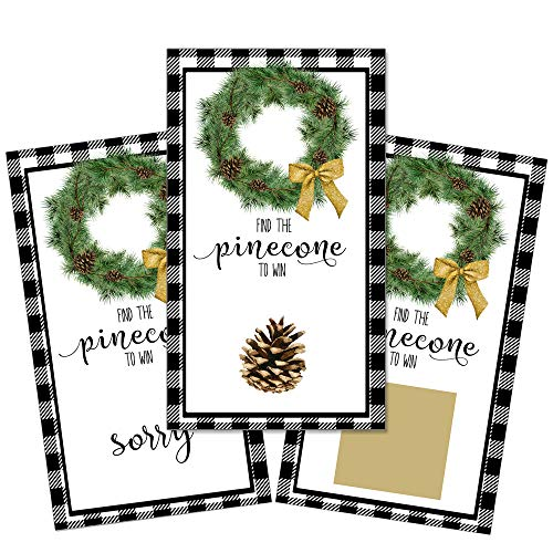 Heads Up Girls Set of 12 Christmas Holidays Winter Scratch Off Game Cards for Baby Showers with Black Buffalo Lumberjack Plaid Scratchers ()