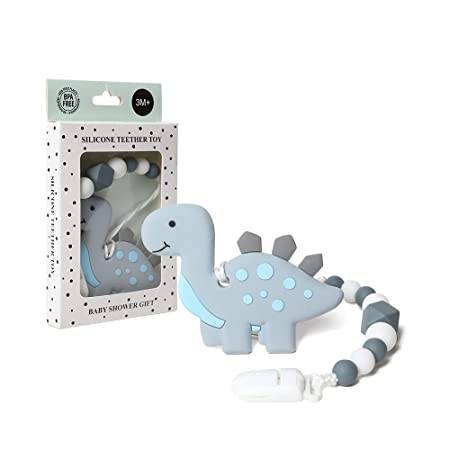 AmazingM Dinosaur Teething Pain Relief Toy with Pacifier Clip Holder Set for Newborn Babies,Food Grade BPA Free Silicone Teether,Freezer Safe,Neutral Baby Shower Gift for Boy and Girl