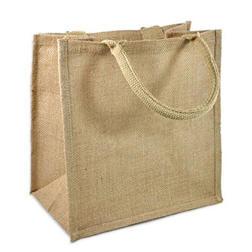 (Pack of 12) Jute / Burlap Tote Bags Soft Cotton Handles Laminated Interior (Medium, Natural)