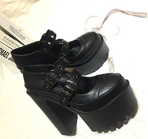 Tableau KHSKX Étanches Femmes Les Talon 5Cm Noire Travail Seul Bruts Thirty Chaussures 8 Chaussures Chaussures À Des Ronde Hauts Talons Grand Chaussures Cuir Des six Tête Du rvqzrncZ