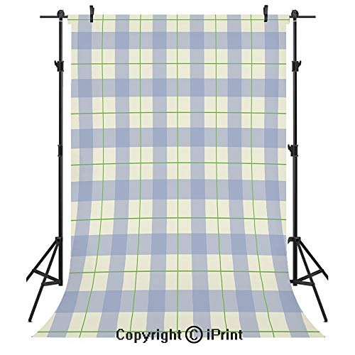 (Checkered Photography Backdrops,Celtic Style Classic Design Scottish Thin Lines Traditional Tile Decorative,Birthday Party Seamless Photo Studio Booth Background Banner 10x20ft,Lime Green Baby Blue Wh)