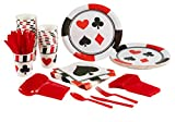 Blue Panda Casino Party Supplies – Serves 24 – Includes Plates, Knives, Spoons, Forks, Cups and Napkins Perfect for Birthdays and Casino Poker Parties