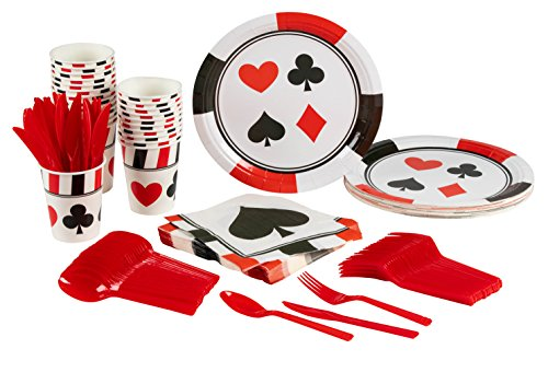 Blue Panda Casino Party Supplies – Serves 24 – Includes Plates, Knives, Spoons, Forks, Cups Napkins Perfect Birthdays Casino Poker Parties