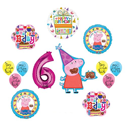 Mayflower Products Peppa Pig 6th Birthday Party Balloon supplies and decorations kit]()