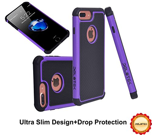 iPhone 7/8 Plus Black and Purple Case ✮ Pelotek Heavy Duty High Impact Resistant ✮ With Fancy Hybrid Triple Layer Soft Inner Cushion ✮ Strong Scratch Resistant Attractive Purple Luxury Cover.