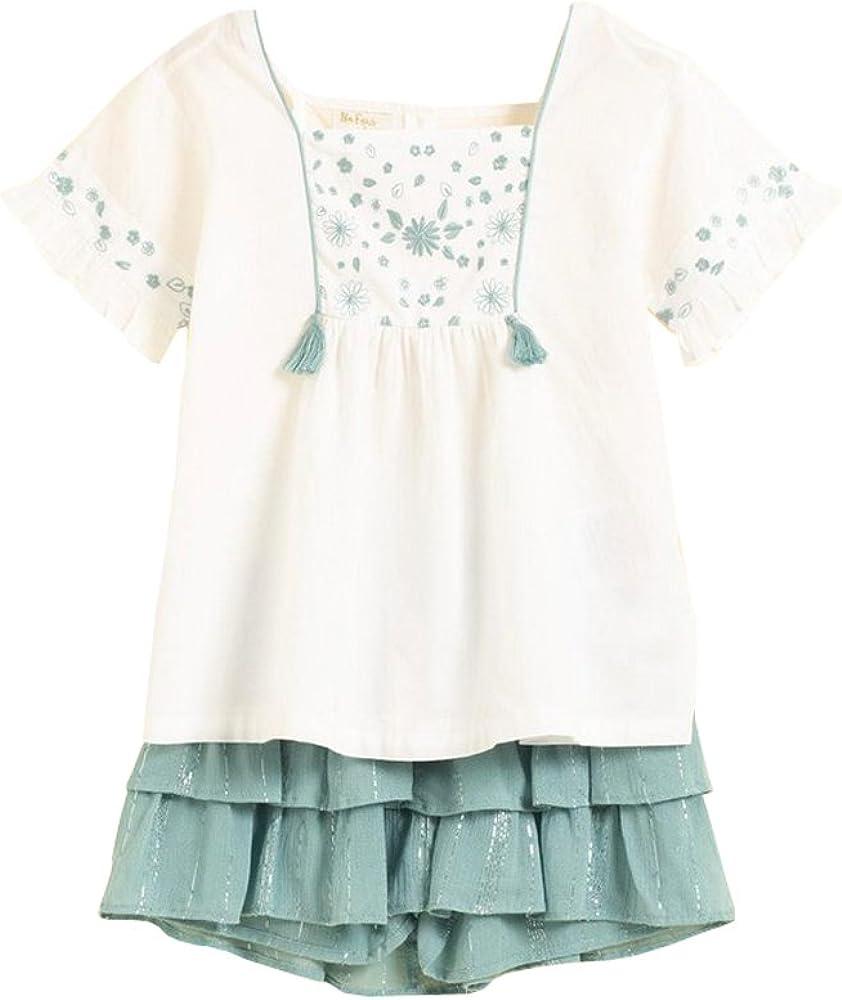 Conjunto niña Blusa Blanca y Short Verde (2-3 años): Amazon.es: Ropa y accesorios