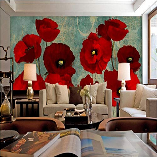 Wall Stickers Murals Large Wallpaper Red Flower Mulberry Poppy Flower Oil Painting Background Wall Painting - Poppy Mulberry