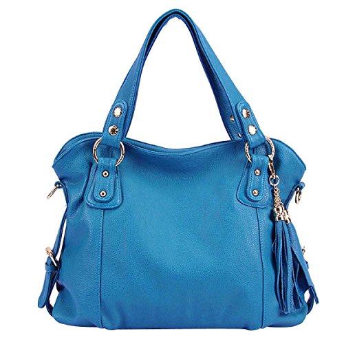 Sacs hobo en cuir de femmes élégantes inconnues avec des glands de sac à bandoulière bleu