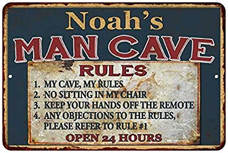Amazon Com Noah S Man Cave Rules Chic Rustic Green Sign Home 8 X 12