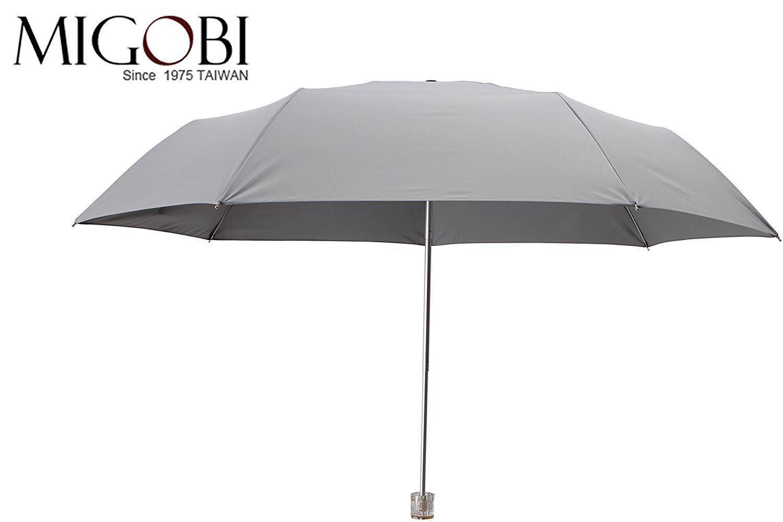 Migobi Lightweight Compact Portable Umbrella with Travel Windproof Design Folding UV Parasol for Women Girls, Mini UPF 50+ Umbrella with Gift Box 8801(Gray/Black)