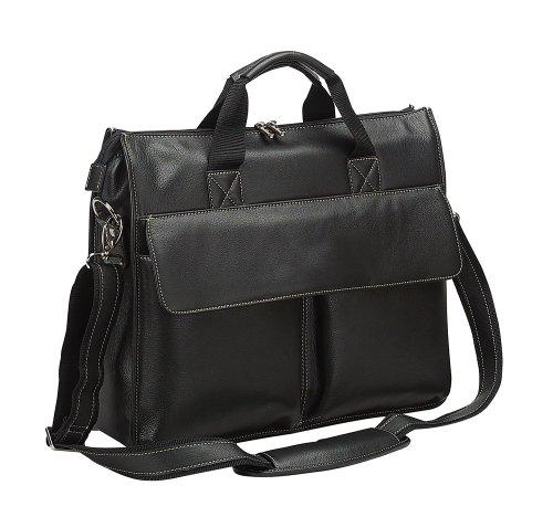 - Bellino Minimalist Design Leather Briefcase Bag- Black