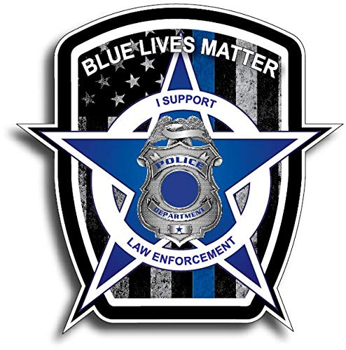 Pack of 10 Thin Blue Line Blue Lives Matter Badge USA Flag Police Car Truck Decal Sticker]()
