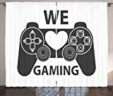 Gamer Curtains by Lunarable, We Love Gaming Quote Greyscale Controller Design with Heart in the Middle, Living Room Bedroom Window Drapes 2 Panel Set, 108 W X 108 L Inches, Charcoal Grey White