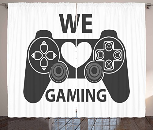 Gamer Curtains by Lunarable, We Love Gaming Quote Greyscale Controller Design with Heart in the Middle, Living Room Bedroom Window Drapes 2 Panel Set, 108 W X 108 L Inches, Charcoal Grey White by Lunarable