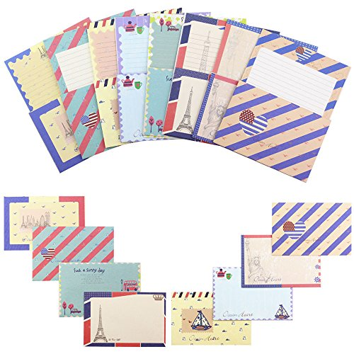 Bolbove Cute Little Set of Stationery 64 Writing Paper Sheets & 32 Envelopes + 36 Seal Stickers (B-Vintage Navy style)
