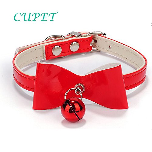LUCKSTAR Adjustable Dog Cat Pet PU Leather Pet Collar With Bow and Bell For Cat Or Small Dog XS (Red)