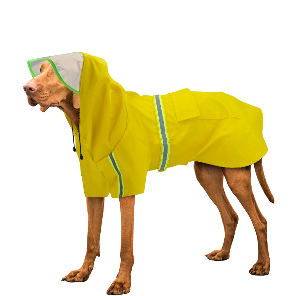 Didog Reflective Large Dog Raincoat with Hood,Rain Poncho,Lightweight Waterproof rain Jacket for Medium Large Dogs,Yellow,3XL