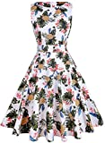 IHOT Vintage 1950's Summer Floral Garden Party Picnic Dress Party Cocktail Dress for Women (XL, White Pineapple)