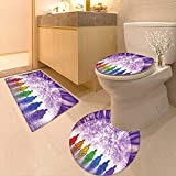 3 Piece Toilet Cover Set Collection Praying Colorful Buddhas with Digital Sea and Moon Effect Yoga Peace Meditation 3D Digital Printing Rug Set