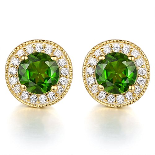 1.0Ct Round 8mm Green Chrome Diopside Stud Earrings for Women