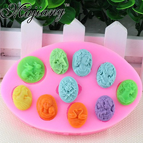 Cameo Moulds - Star Trade Inc - Cupcake Wedding Fondant Cake Decorating Tools Figure Cameo Silicone Moulds Gumpaste Chocolate Fimo Clay Candy Moulds (1 pcs) (B)