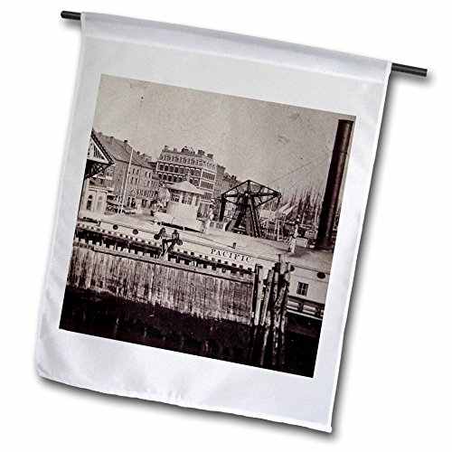 3dRose Scenes from the Past Magic Lantern Slides - New York City South Ferry Broadway Brooklyn Manhattan 1880s or 1890s - 18 x 27 inch Garden Flag - Broadway New York Images Of