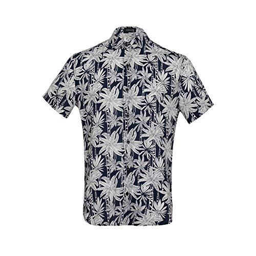 LINCINK Hawaiian Shirt Mens Coconut Tree Casual Button Down Short Sleeve Shirts Camp Party Holiday Beach Navy Blue