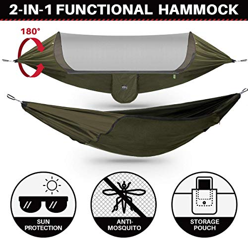 ETROL Upgraded 2 in 1 Large Camping Hammock with Mosquito Net, Pop-Up Lightweight Portable Hanging Hammocks with Tree Straps, Swing Sleeping Hammock with Net for Outdoor, Hiking, Backpacking, Travel