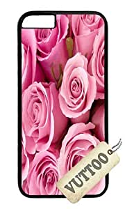 iPhone 6 Case,VUTTOO iPhone 6 Cover With Photo: Pink Roses For Apple iPhone 6 4.7Inch - PC Black Hard Case by ruishername