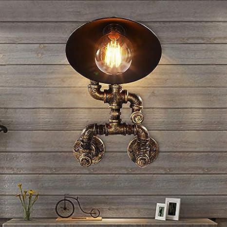 S&shan Lampara de pared, Retro Loft Hierro tubo de agua robot lámpara de pared creativo
