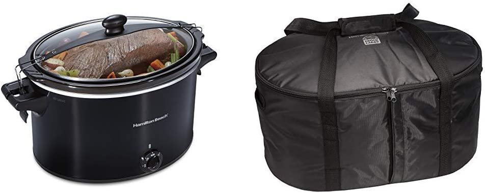 Hamilton Beach Extra-Large Stay or Go Portable 10-Quart Slow Cooker With Lid Lock, Dishwasher-Safe Crock, Black (33195) & Hamilton Beach Travel Case & Carrier Insulated Bag (33002),Black